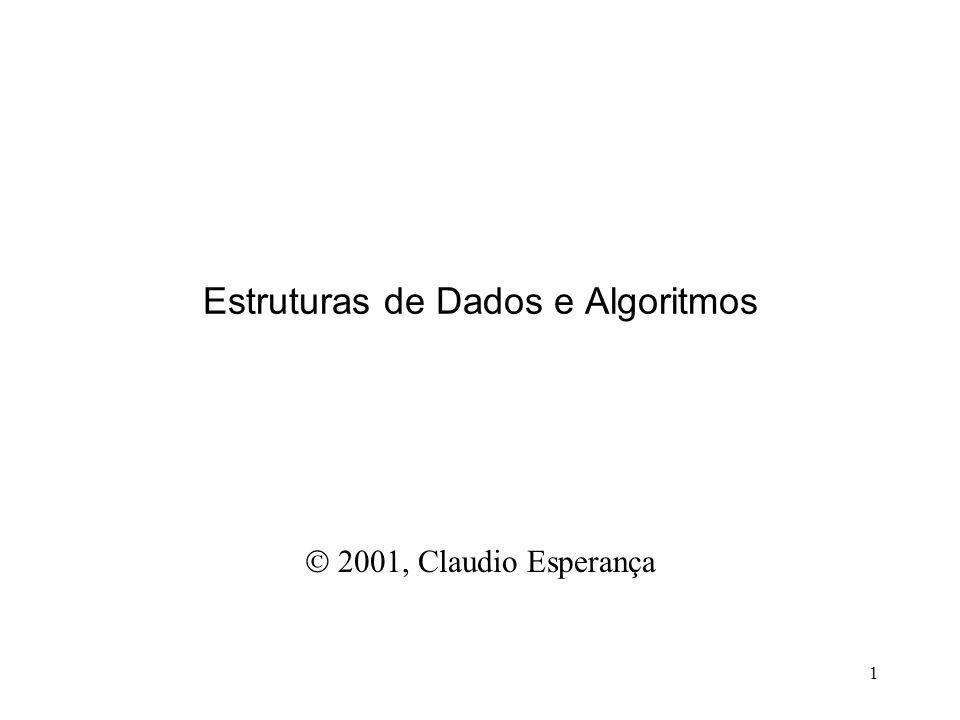 1 Estruturas de Dados e Algoritmos 2001, Claudio Esperança