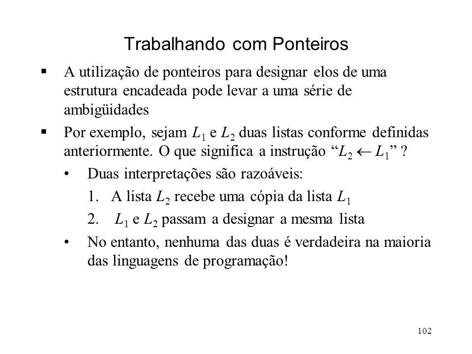 102 Trabalhando com Ponteiros A utilização de ponteiros para designar elos de uma estrutura encadeada pode levar a uma série de ambigüidades Por exemplo, sejam L 1 e L 2 duas listas conforme definidas anteriormente.