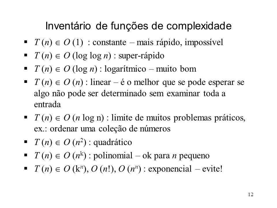 12 Inventário de funções de complexidade T (n) O (1) : constante – mais rápido, impossível T (n) O (log log n) : super-rápido T (n) O (log n) : logarítmico – muito bom T (n) O (n) : linear – é o melhor que se pode esperar se algo não pode ser determinado sem examinar toda a entrada T (n) O (n log n) : limite de muitos problemas práticos, ex.: ordenar uma coleção de números T (n) O (n 2 ) : quadrático T (n) O (n k ) : polinomial – ok para n pequeno T (n) O (k n ), O (n!), O (n n ) : exponencial – evite!