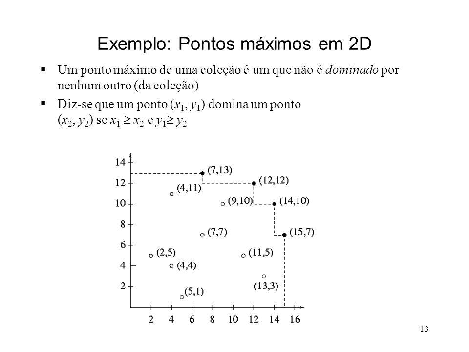 13 Exemplo: Pontos máximos em 2D Um ponto máximo de uma coleção é um que não é dominado por nenhum outro (da coleção) Diz-se que um ponto (x 1, y 1 ) domina um ponto (x 2, y 2 ) se x 1 x 2 e y 1 y 2