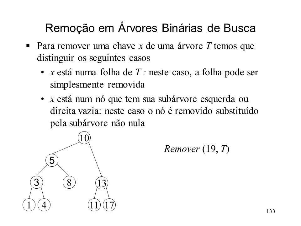 133 13 10 195 8 3 411711 Remoção em Árvores Binárias de Busca Para remover uma chave x de uma árvore T temos que distinguir os seguintes casos x está numa folha de T : neste caso, a folha pode ser simplesmente removida x está num nó que tem sua subárvore esquerda ou direita vazia: neste caso o nó é removido substituído pela subárvore não nula 13 10 5 8 3 411711 Remover (19, T)