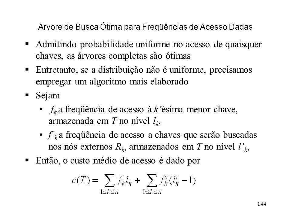 144 Árvore de Busca Ótima para Freqüências de Acesso Dadas Admitindo probabilidade uniforme no acesso de quaisquer chaves, as árvores completas são ótimas Entretanto, se a distribuição não é uniforme, precisamos empregar um algoritmo mais elaborado Sejam f k a freqüência de acesso à késima menor chave, armazenada em T no nível l k, f k a freqüência de acesso a chaves que serão buscadas nos nós externos R k, armazenados em T no nível l k, Então, o custo médio de acesso é dado por
