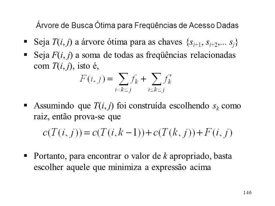 146 Árvore de Busca Ótima para Freqüências de Acesso Dadas Seja T(i, j) a árvore ótima para as chaves {s i+1, s i+2,...