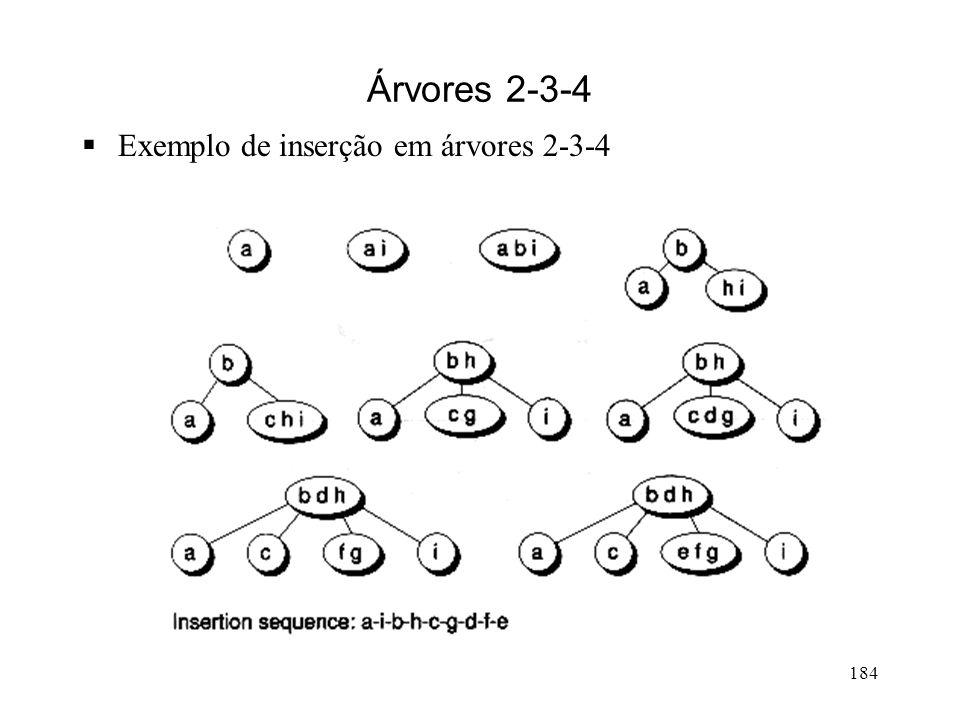 184 Árvores 2-3-4 Exemplo de inserção em árvores 2-3-4
