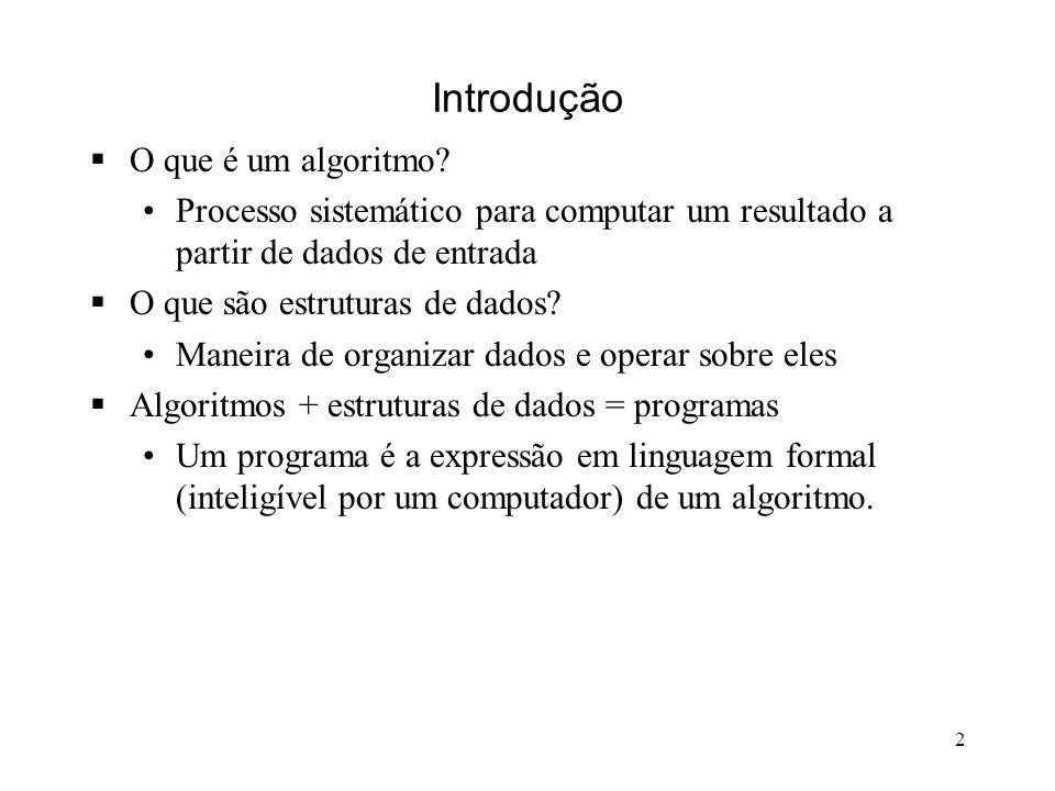 2 Introdução O que é um algoritmo.