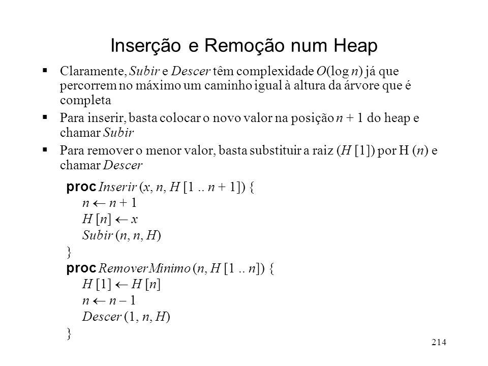 214 Inserção e Remoção num Heap Claramente, Subir e Descer têm complexidade O(log n) já que percorrem no máximo um caminho igual à altura da árvore que é completa Para inserir, basta colocar o novo valor na posição n + 1 do heap e chamar Subir Para remover o menor valor, basta substituir a raiz (H [1]) por H (n) e chamar Descer proc Inserir (x, n, H [1..