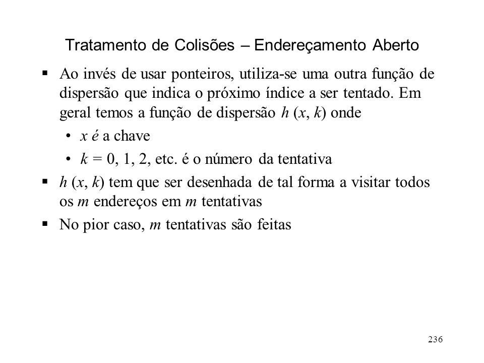 236 Tratamento de Colisões – Endereçamento Aberto Ao invés de usar ponteiros, utiliza-se uma outra função de dispersão que indica o próximo índice a ser tentado.