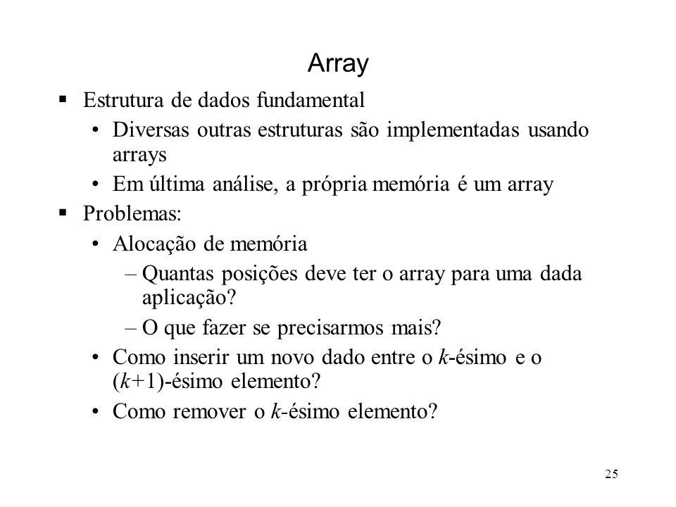 25 Array Estrutura de dados fundamental Diversas outras estruturas são implementadas usando arrays Em última análise, a própria memória é um array Problemas: Alocação de memória –Quantas posições deve ter o array para uma dada aplicação.