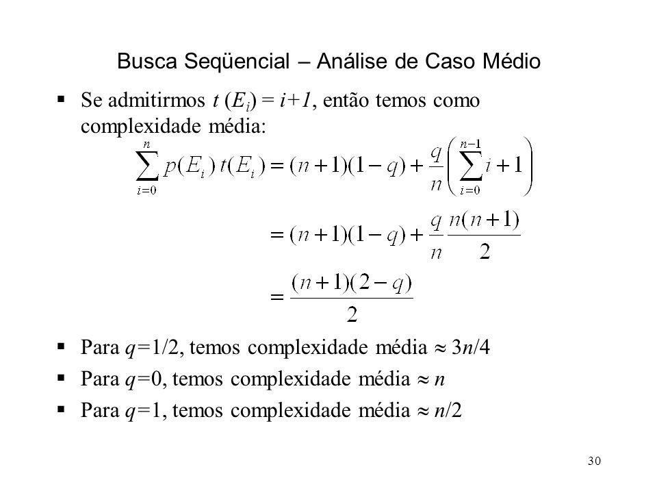 30 Busca Seqüencial – Análise de Caso Médio Se admitirmos t (E i ) = i+1, então temos como complexidade média: Para q=1/2, temos complexidade média 3n/4 Para q=0, temos complexidade média n Para q=1, temos complexidade média n/2
