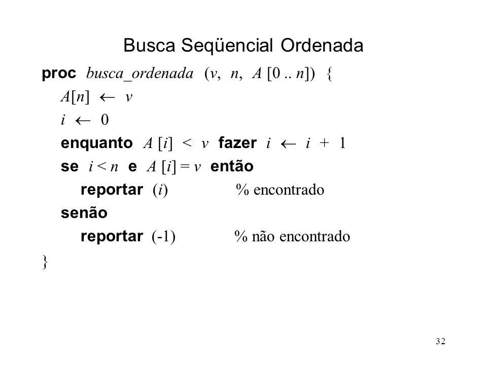 32 Busca Seqüencial Ordenada proc busca_ordenada (v, n, A [0..