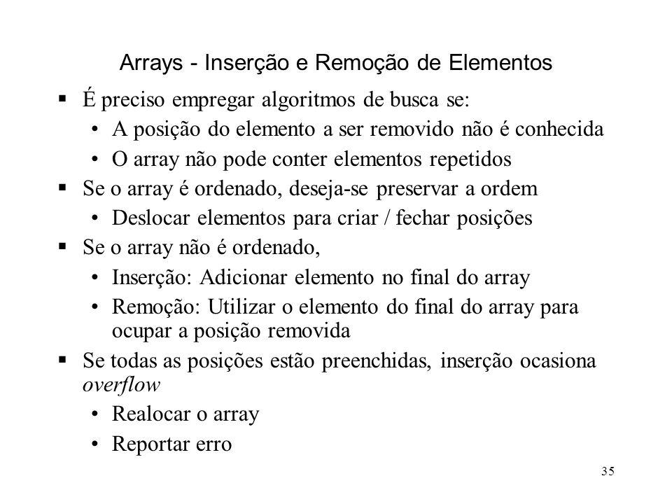 35 Arrays - Inserção e Remoção de Elementos É preciso empregar algoritmos de busca se: A posição do elemento a ser removido não é conhecida O array não pode conter elementos repetidos Se o array é ordenado, deseja-se preservar a ordem Deslocar elementos para criar / fechar posições Se o array não é ordenado, Inserção: Adicionar elemento no final do array Remoção: Utilizar o elemento do final do array para ocupar a posição removida Se todas as posições estão preenchidas, inserção ocasiona overflow Realocar o array Reportar erro