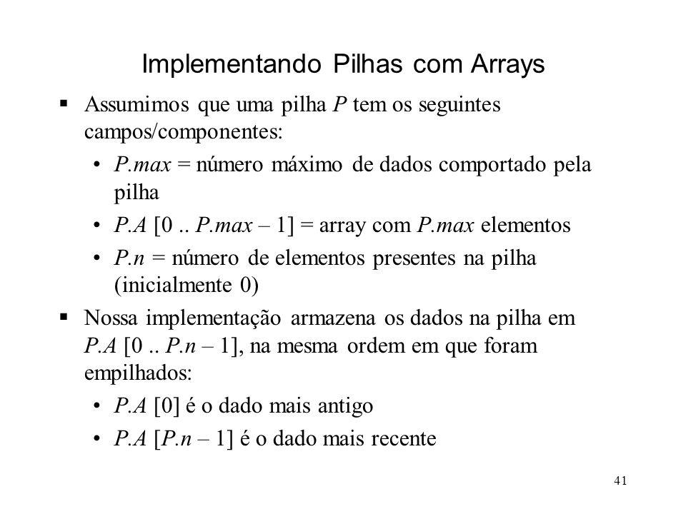 41 Implementando Pilhas com Arrays Assumimos que uma pilha P tem os seguintes campos/componentes: P.max = número máximo de dados comportado pela pilha P.A [0..