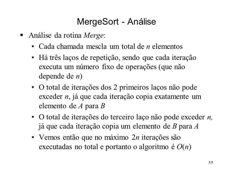 55 MergeSort - Análise Análise da rotina Merge: Cada chamada mescla um total de n elementos Há três laços de repetição, sendo que cada iteração executa um número fixo de operações (que não depende de n) O total de iterações dos 2 primeiros laços não pode exceder n, já que cada iteração copia exatamente um elemento de A para B O total de iterações do terceiro laço não pode exceder n, já que cada iteração copia um elemento de B para A Vemos então que no máximo 2n iterações são executadas no total e portanto o algoritmo é O(n)