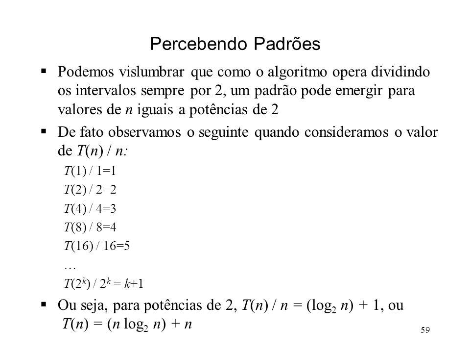 59 Percebendo Padrões Podemos vislumbrar que como o algoritmo opera dividindo os intervalos sempre por 2, um padrão pode emergir para valores de n iguais a potências de 2 De fato observamos o seguinte quando consideramos o valor de T(n) / n: T(1) / 1=1 T(2) / 2=2 T(4) / 4=3 T(8) / 8=4 T(16) / 16=5 … T(2 k ) / 2 k = k+1 Ou seja, para potências de 2, T(n) / n = (log 2 n) + 1, ou T(n) = (n log 2 n) + n