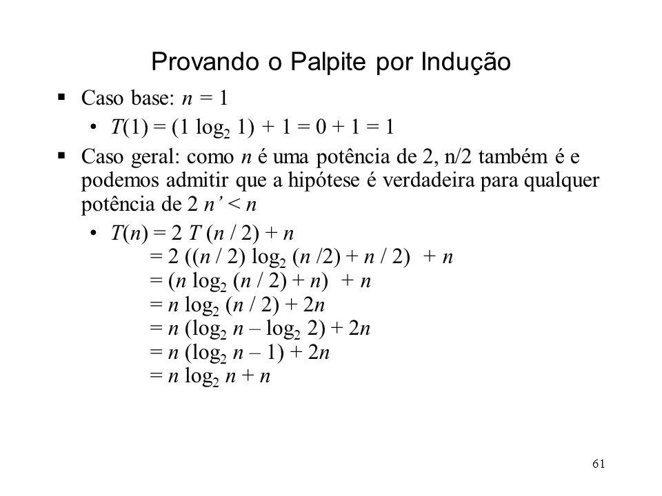 61 Provando o Palpite por Indução Caso base: n = 1 T(1) = (1 log 2 1) + 1 = 0 + 1 = 1 Caso geral: como n é uma potência de 2, n/2 também é e podemos admitir que a hipótese é verdadeira para qualquer potência de 2 n < n T(n) = 2 T (n / 2) + n = 2 ((n / 2) log 2 (n /2) + n / 2) + n = (n log 2 (n / 2) + n) + n = n log 2 (n / 2) + 2n = n (log 2 n – log 2 2) + 2n = n (log 2 n – 1) + 2n = n log 2 n + n