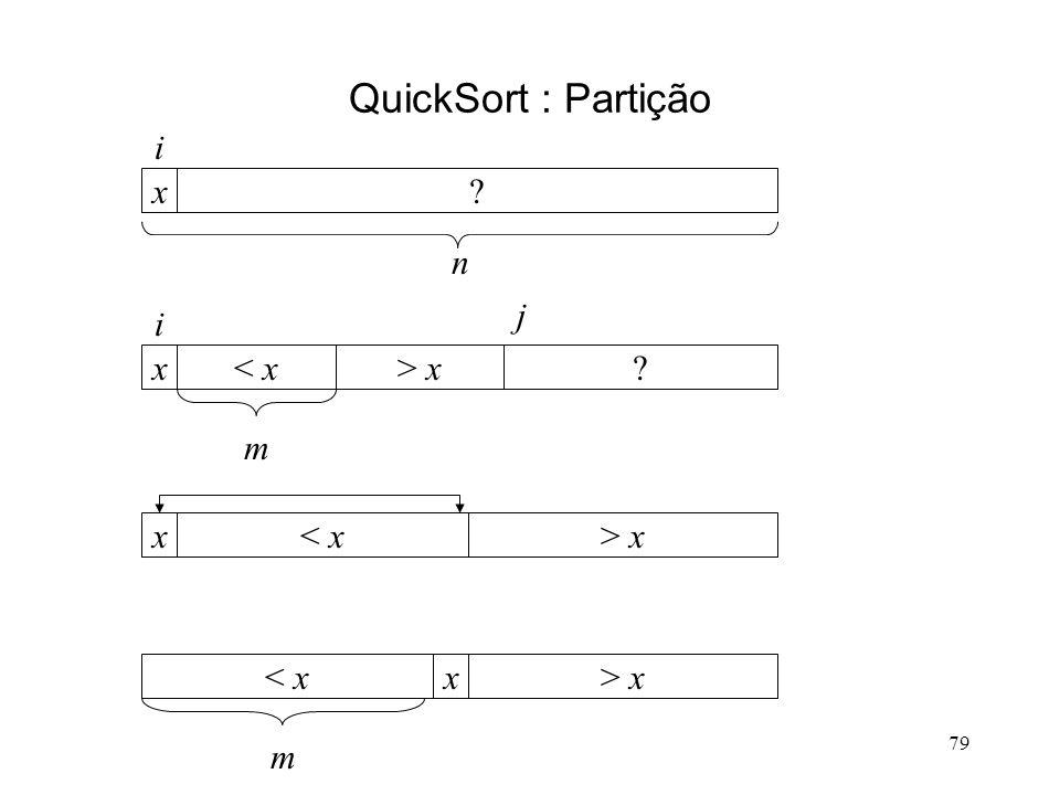 79 QuickSort : Partição x i n < xx i m > x j < xx> x < xx m > x