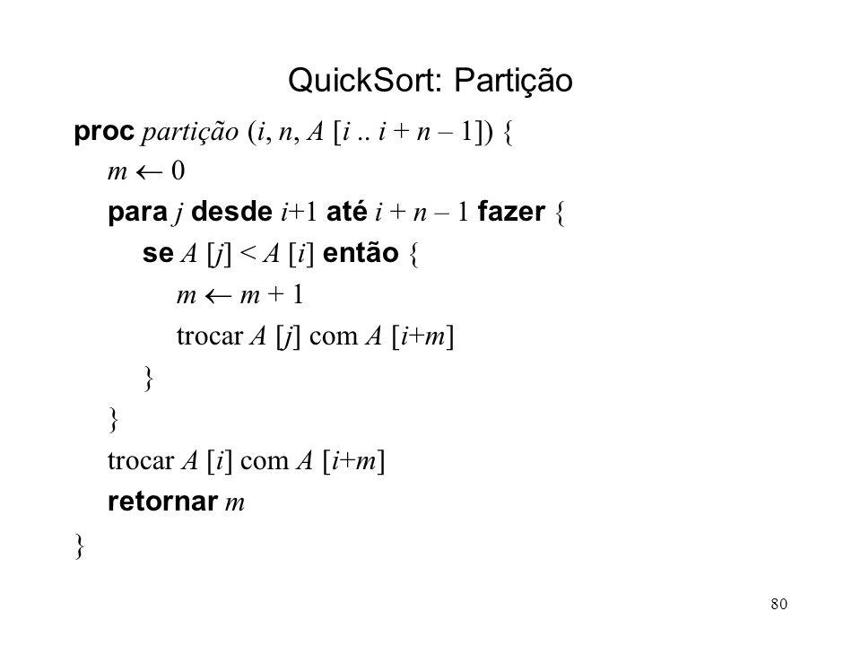 80 QuickSort: Partição proc partição (i, n, A [i..