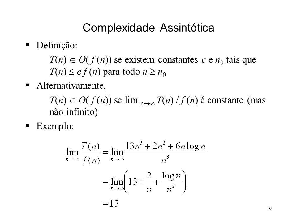 9 Complexidade Assintótica Definição: T(n) O( f (n)) se existem constantes c e n 0 tais que T(n) c f (n) para todo n n 0 Alternativamente, T(n) O( f (n)) se lim n T(n) / f (n) é constante (mas não infinito) Exemplo: