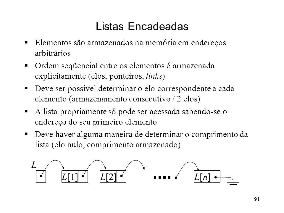91 Listas Encadeadas Elementos são armazenados na memória em endereços arbitrários Ordem seqüencial entre os elementos é armazenada explícitamente (elos, ponteiros, links) Deve ser possível determinar o elo correspondente a cada elemento (armazenamento consecutivo / 2 elos) A lista propriamente só pode ser acessada sabendo-se o endereço do seu primeiro elemento Deve haver alguma maneira de determinar o comprimento da lista (elo nulo, comprimento armazenado) L[1]L[2]L[n]L[n] L