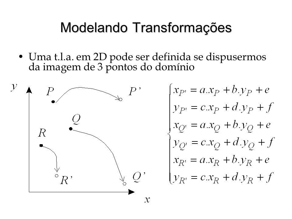 Modelando Transformações Uma t.l.a. em 2D pode ser definida se dispusermos da imagem de 3 pontos do domínio