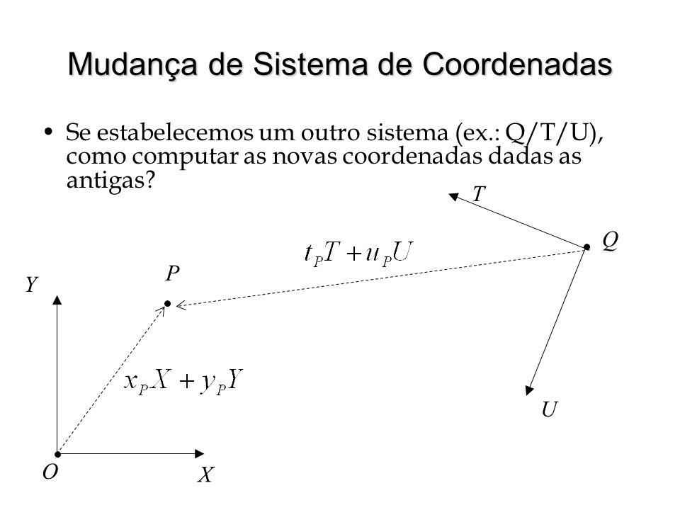 Mudança de Sistema de Coordenadas Se estabelecemos um outro sistema (ex.: Q/T/U), como computar as novas coordenadas dadas as antigas? X Y O U T Q P