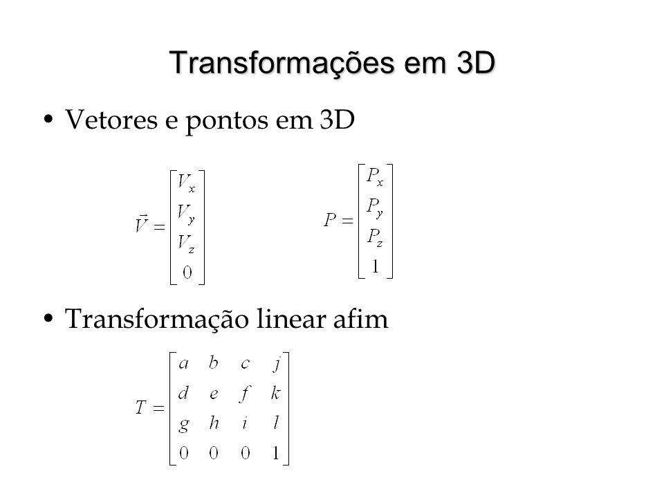 Transformações em 3D Vetores e pontos em 3D Transformação linear afim