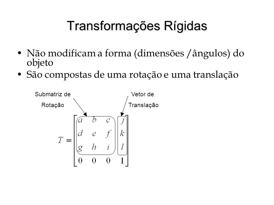 Transformações Rígidas Não modificam a forma (dimensões /ângulos) do objeto São compostas de uma rotação e uma translação Submatriz de Rotação Vetor d