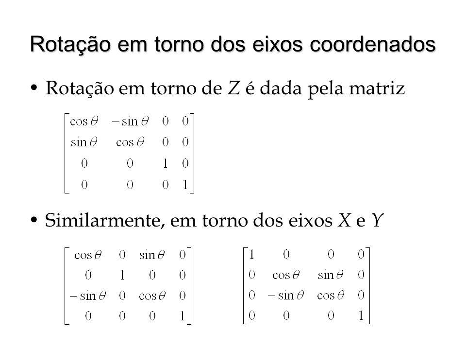 Rotação em torno dos eixos coordenados Similarmente, em torno dos eixos X e Y Rotação em torno de Z é dada pela matriz