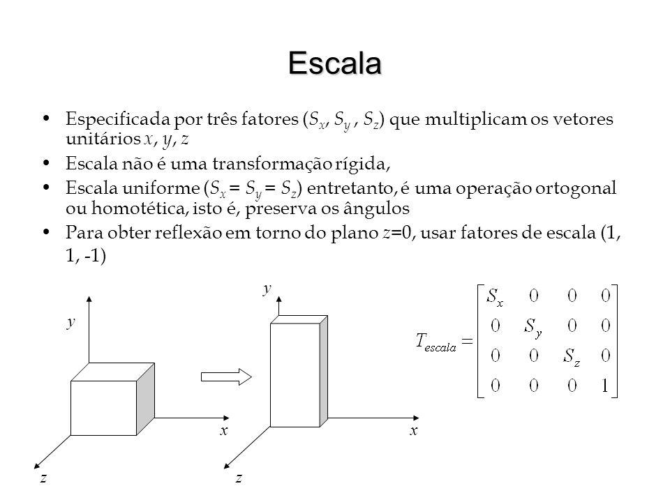 Escala Especificada por três fatores ( S x, S y, S z ) que multiplicam os vetores unitários x, y, z Escala não é uma transformação rígida, Escala unif