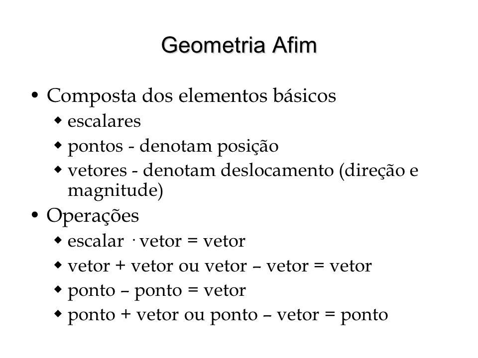 Geometria Afim Composta dos elementos básicos escalares pontos - denotam posição vetores - denotam deslocamento (direção e magnitude) Operações escala