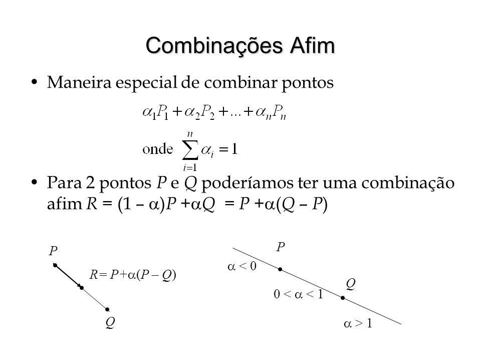 Combinações Afim Maneira especial de combinar pontos Para 2 pontos P e Q poderíamos ter uma combinação afim R = (1 – ) P + Q = P + ( Q – P ) P Q R= P+