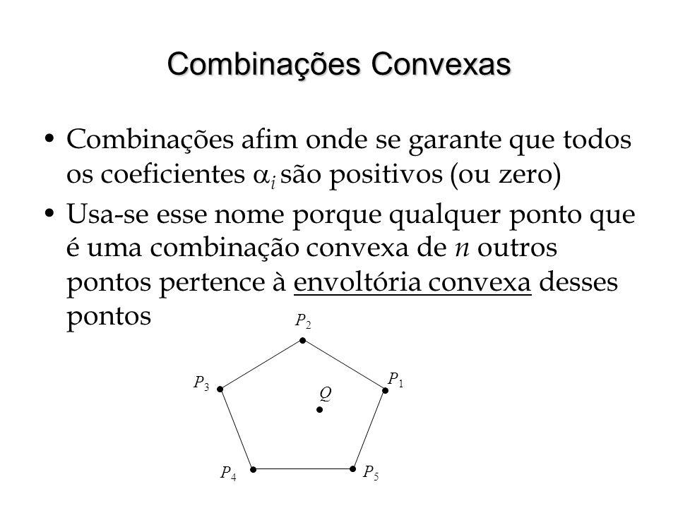 Combinações Convexas Combinações afim onde se garante que todos os coeficientes i são positivos (ou zero) Usa-se esse nome porque qualquer ponto que é