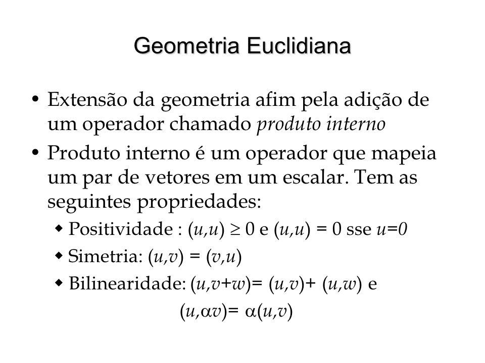 Geometria Euclidiana Extensão da geometria afim pela adição de um operador chamado produto interno Produto interno é um operador que mapeia um par de