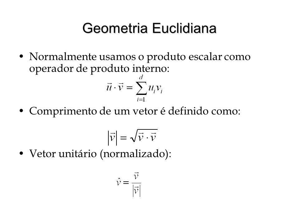Geometria Euclidiana Normalmente usamos o produto escalar como operador de produto interno: Comprimento de um vetor é definido como: Vetor unitário (n