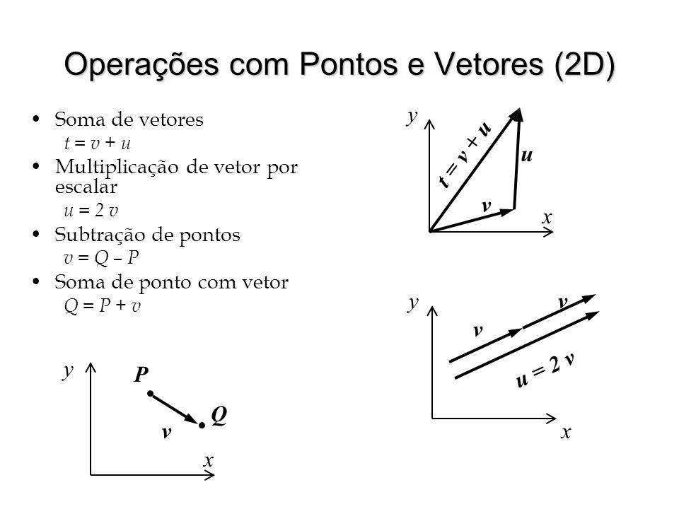 Operações com Pontos e Vetores (2D) Soma de vetores t = v + u Multiplicação de vetor por escalar u = 2 v Subtração de pontos v = Q – P Soma de ponto c