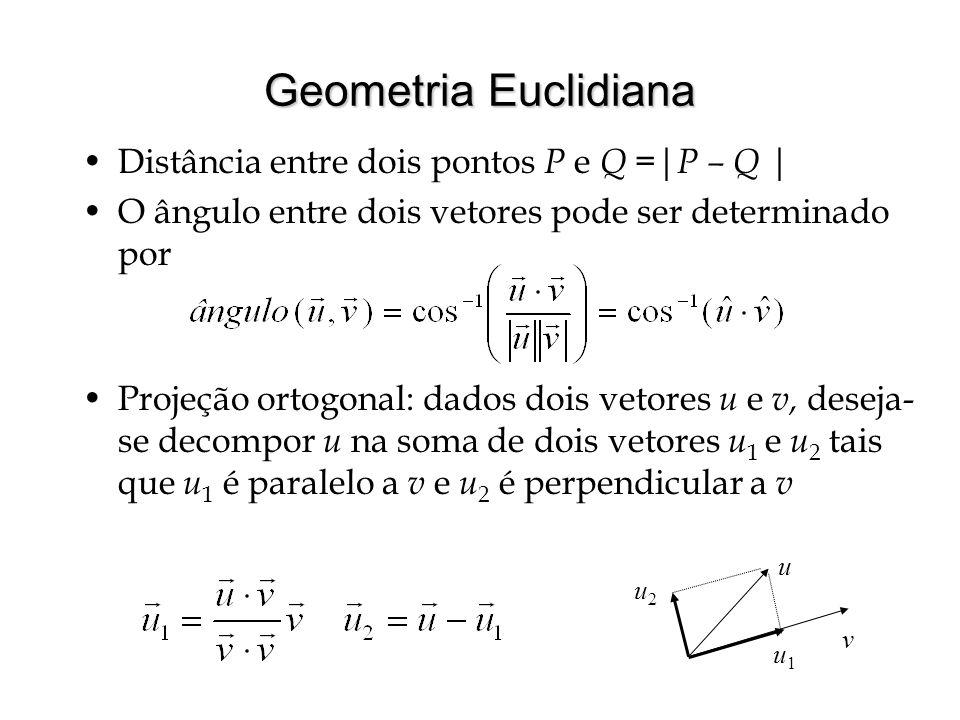Geometria Euclidiana Distância entre dois pontos P e Q =| P – Q | O ângulo entre dois vetores pode ser determinado por Projeção ortogonal: dados dois