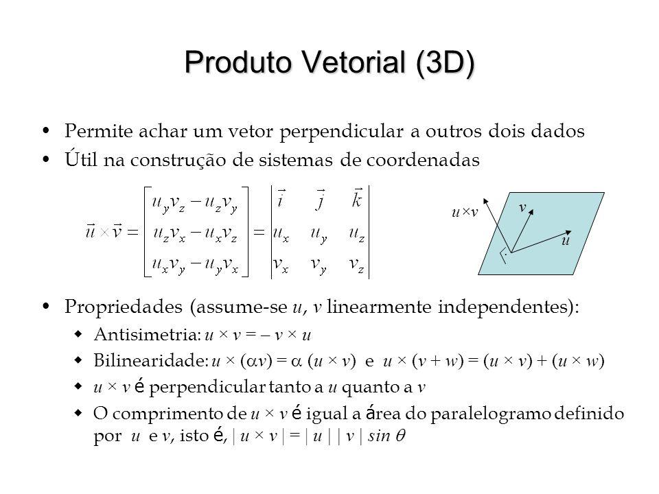 Produto Vetorial (3D) Permite achar um vetor perpendicular a outros dois dados Útil na construção de sistemas de coordenadas Propriedades (assume-se u