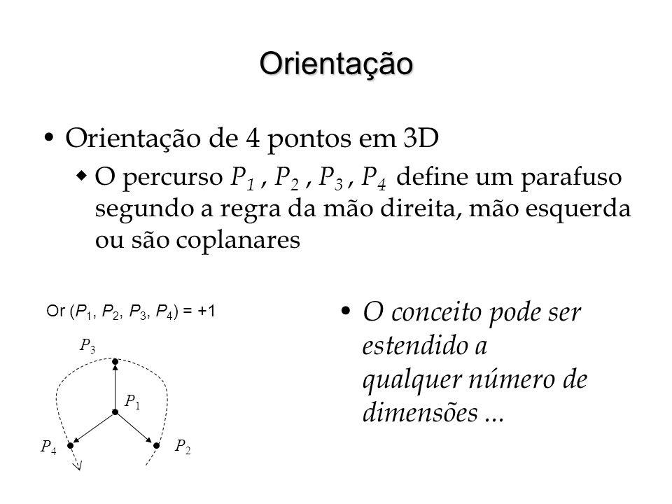 Orientação Orientação de 4 pontos em 3D O percurso P 1, P 2, P 3, P 4 define um parafuso segundo a regra da mão direita, mão esquerda ou são coplanare