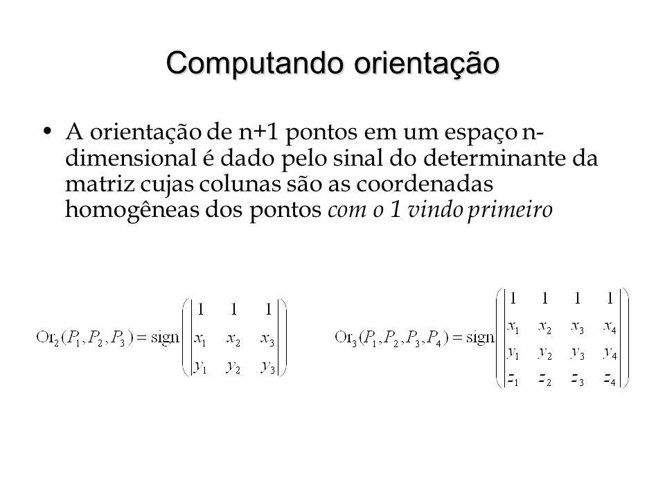 Computando orientação A orientação de n+1 pontos em um espaço n- dimensional é dado pelo sinal do determinante da matriz cujas colunas são as coordena