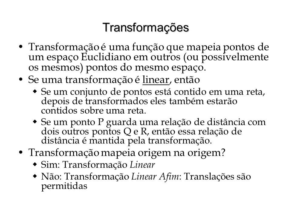 Transformações Transformação é uma função que mapeia pontos de um espaço Euclidiano em outros (ou possivelmente os mesmos) pontos do mesmo espaço. Se