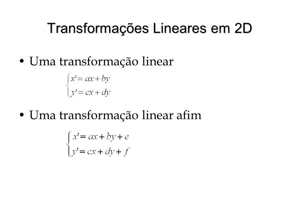 Transformações Lineares em 2D Uma transformação linear Uma transformação linear afim