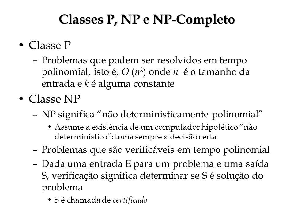 Classes P, NP e NP-Completo Classe P –Problemas que podem ser resolvidos em tempo polinomial, isto é, O ( n k ) onde n é o tamanho da entrada e k é alguma constante Classe NP –NP significa não deterministicamente polinomial Assume a existência de um computador hipotético não determinístico: toma sempre a decisão certa –Problemas que são verificáveis em tempo polinomial –Dada uma entrada E para um problema e uma saída S, verificação significa determinar se S é solução do problema S é chamada de certificado