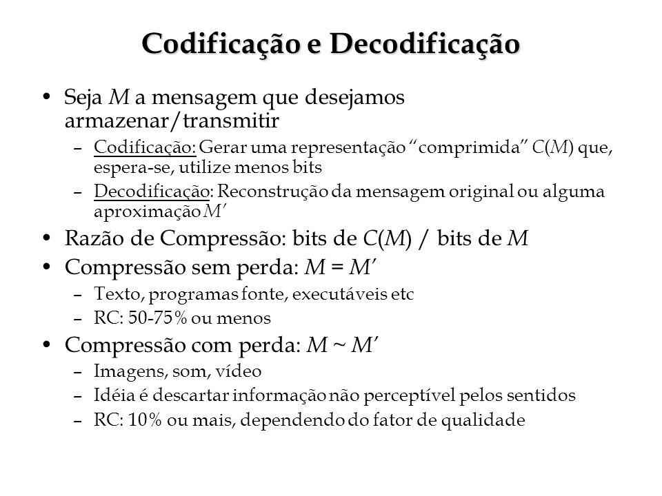 Codificação e Decodificação Seja M a mensagem que desejamos armazenar/transmitir –Codificação: Gerar uma representação comprimida C ( M ) que, espera-se, utilize menos bits –Decodificação: Reconstrução da mensagem original ou alguma aproximação M Razão de Compressão: bits de C ( M ) / bits de M Compressão sem perda: M = M –Texto, programas fonte, executáveis etc –RC: 50-75% ou menos Compressão com perda: M ~ M –Imagens, som, vídeo –Idéia é descartar informação não perceptível pelos sentidos –RC: 10% ou mais, dependendo do fator de qualidade