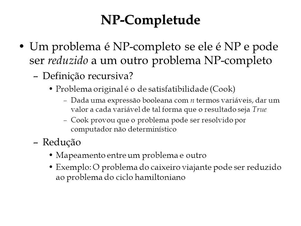 NP-Completude Um problema é NP-completo se ele é NP e pode ser reduzido a um outro problema NP-completo –Definição recursiva.