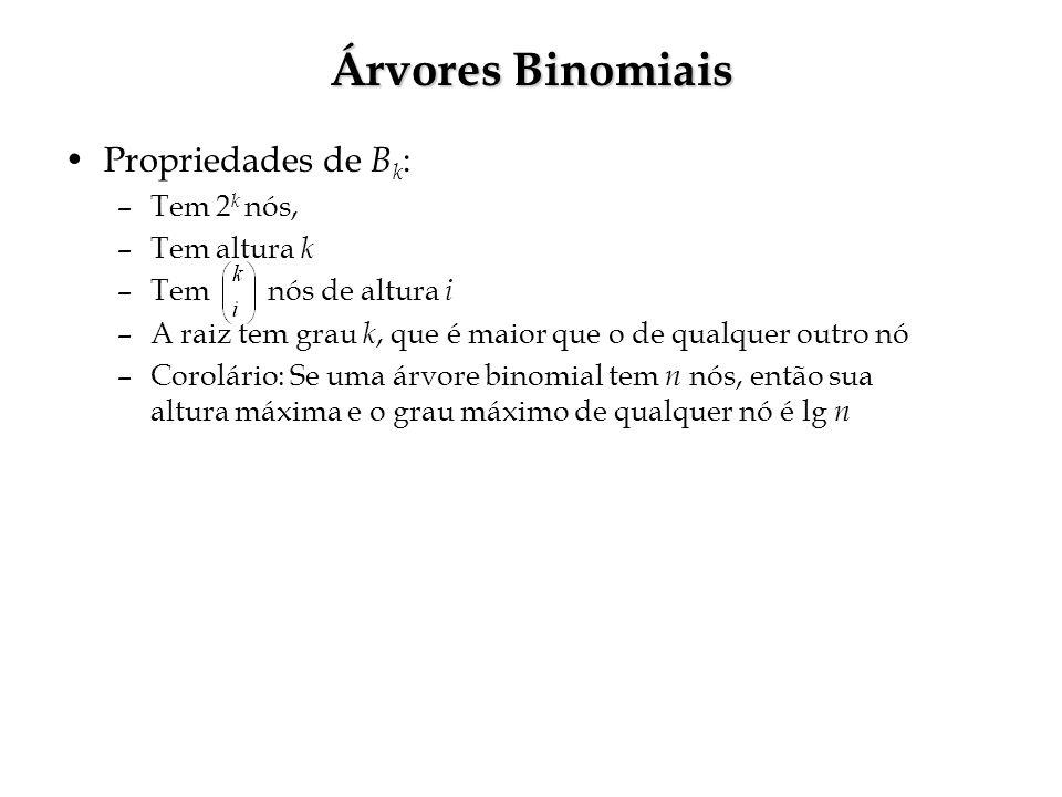 Árvores Binomiais Propriedades de B k : –Tem 2 k nós, –Tem altura k –Tem nós de altura i –A raiz tem grau k, que é maior que o de qualquer outro nó –Corolário: Se uma árvore binomial tem n nós, então sua altura máxima e o grau máximo de qualquer nó é lg n