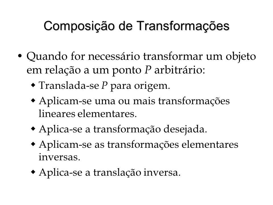 Composição de Transformações Quando for necessário transformar um objeto em relação a um ponto P arbitrário: Translada-se P para origem. Aplicam-se um
