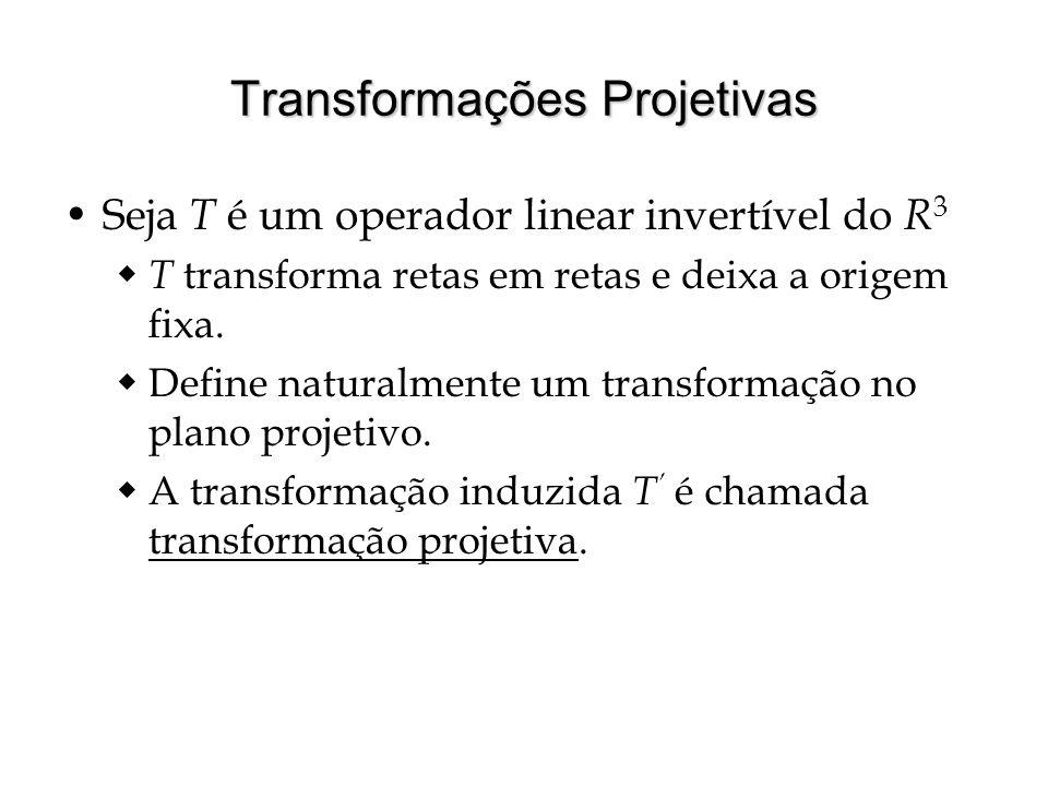 Transformações Projetivas Seja T é um operador linear invertível do R 3 T transforma retas em retas e deixa a origem fixa. Define naturalmente um tran