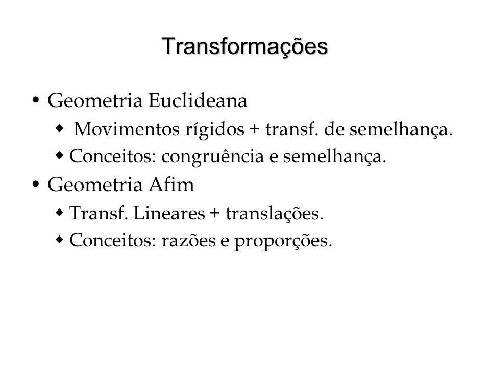 Transformações Geometria Euclideana Movimentos rígidos + transf. de semelhança. Conceitos: congruência e semelhança. Geometria Afim Transf. Lineares +