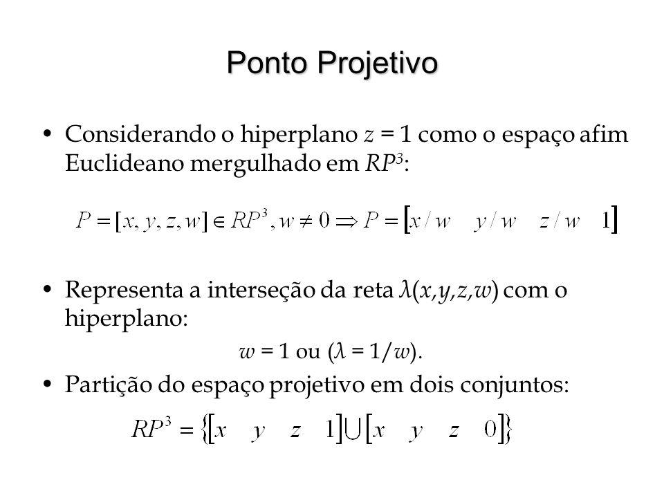 Ponto Projetivo Considerando o hiperplano z = 1 como o espaço afim Euclideano mergulhado em RP 3 : Representa a interseção da reta λ ( x,y,z,w ) com o