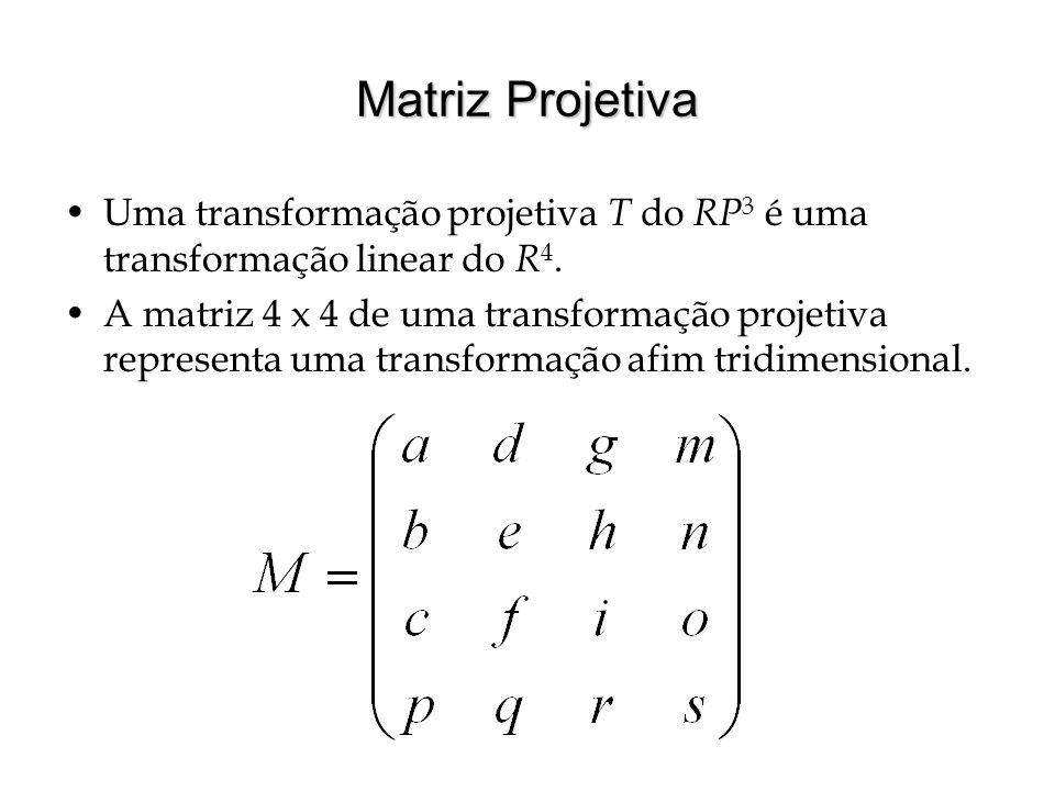 Matriz Projetiva Uma transformação projetiva T do RP 3 é uma transformação linear do R 4. A matriz 4 x 4 de uma transformação projetiva representa uma